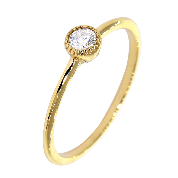 Bezel Style Ladies Ring, Single Round Diamond, 0.13CT in 14K Yellow Gold