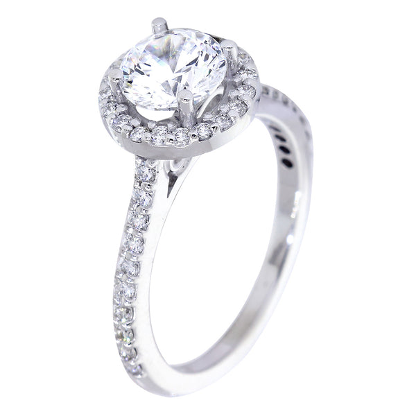 Halo Engagement Ring Setting for a Round Diamond, Infinity Symbol Accent, 0.47CT Total Sides in 14k White Gold
