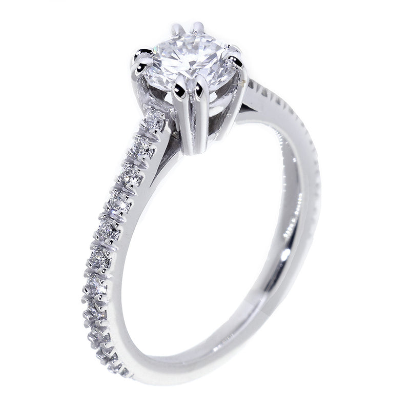 Engagement Ring Setting for a 0.80CT Round Center, 0.45CT Total Diamond Sides in 14k White Gold