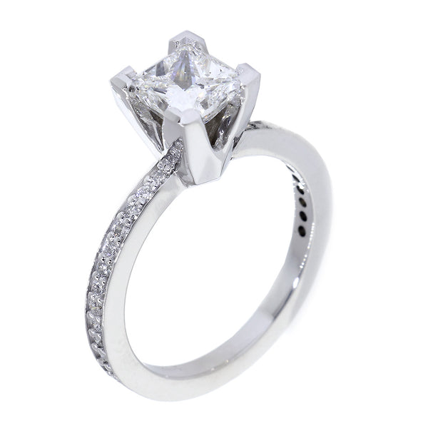 Engagement Ring Setting for 7mm Princess Cut Diamond, 0.30CT Total Diamond Sides in 14k White Gold
