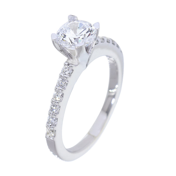 Engagement Ring Setting for a 1CT Round Diamond Center, 6.5mm, 0.36CT Total Sides in 14k White Gold