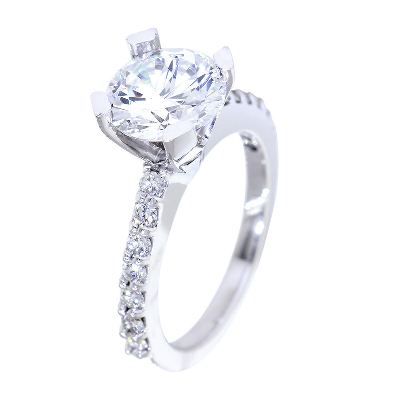 Engagement Ring Setting for a 2.25CT Round Diamond Center, 0.50CT Total Sides in Platinum