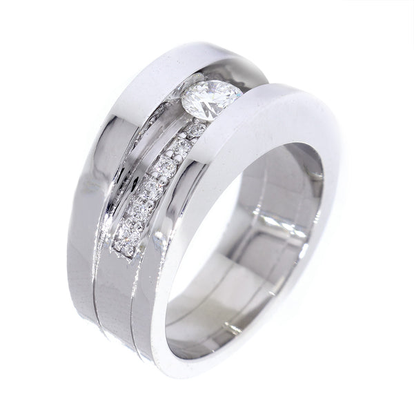 Mens Channel Ring Setting for a 4mm Round Diamond Center, 0.13CT Total Sides in 14k White Gold