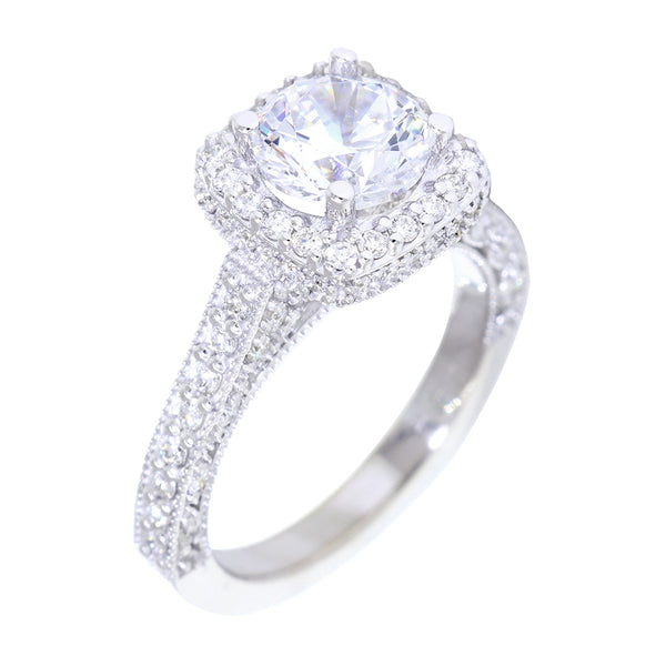 Vintage Style Cushion Halo 1.25CT Round Center Diamond Engagement Ring Setting, 0.76CT Total Sides in 14k White Gold