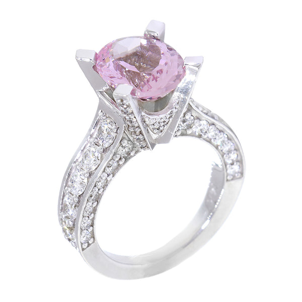 Oval Morganite and Diamond Ring, 8mm x 10mm Oval Center, 1.59CT Total Sides in 14k White Gold