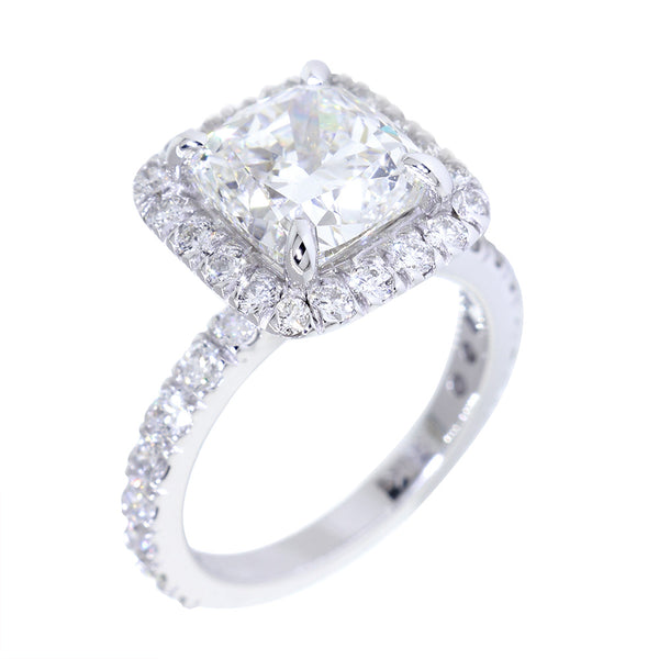 Cushion Halo and 8.5mm Cushion Cut Center Diamond Engagement Ring Setting, 0.87CT Total Sides in 14k White Gold