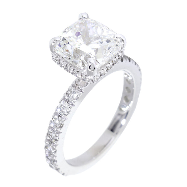Under Halo for an 8.5mm Cushion Cut Center Diamond Engagement Ring Setting, 0.66CT Total Sides in 14k White Gold
