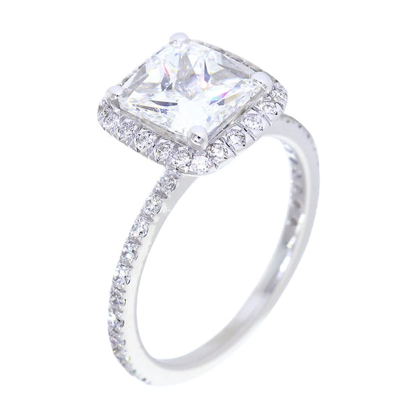 Cushion Halo and 7mm Cushion Cut Center Diamond Engagement Ring Setting, 0.32CT Total Sides in 14k White Gold