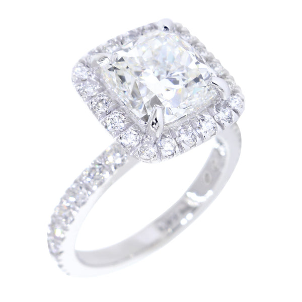 High Set Cushion Halo and 8.5mm Cushion Cut Center Diamond Engagement Ring Setting, 0.87CT Total Sides in 14k White Gold