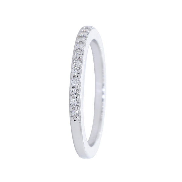 Diamond Wedding Band set Halfway, 0.16CT in 14K White Gold