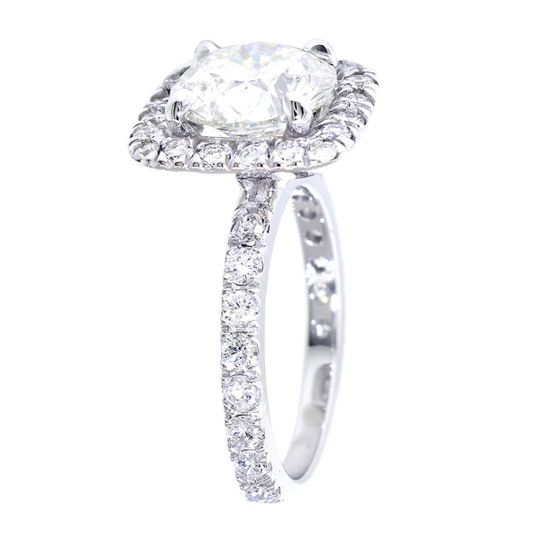 Cushion Halo and 9mm Round Diamond Center Engagement Ring Setting, 0.87CT Total Sides in 14k White Gold