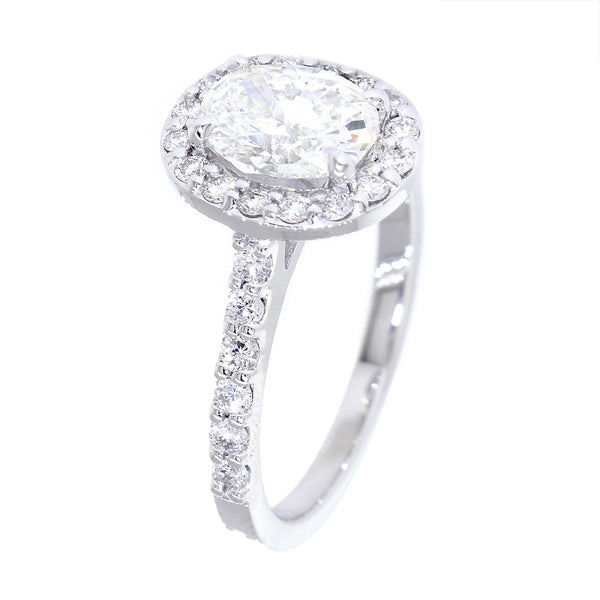 Oval Halo Diamond Engagement Ring Setting, 8mm x 6mm Center, 0.50CT Total Sides in 14k White Gold