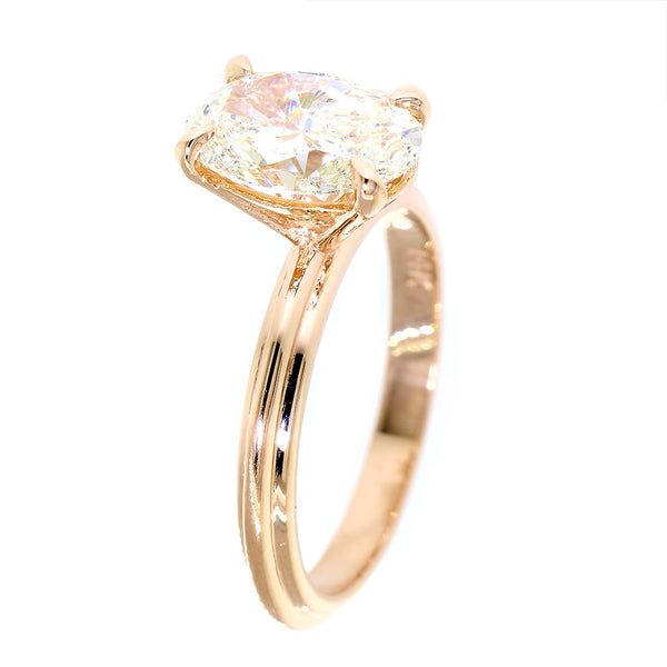 Oval Engagement Ring Setting, 10mm x 7mm Oval, Solitaire Setting in 14k Pink, Rose Gold