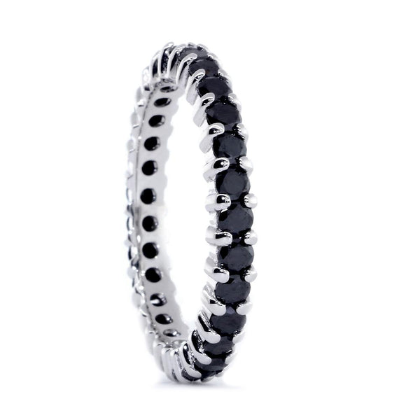 Eternity Band with Black Diamonds, 1.30CT in 14K White Gold