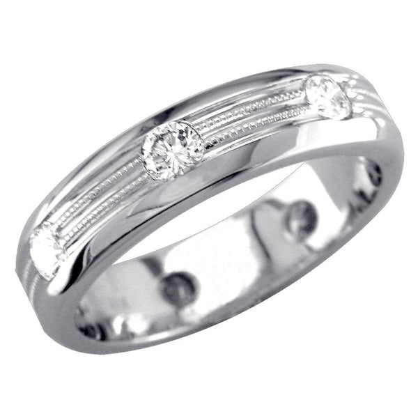 Mens Domed Diamond Band with 2 Rows of Millgrain, 1.00CT in 18k White Gold