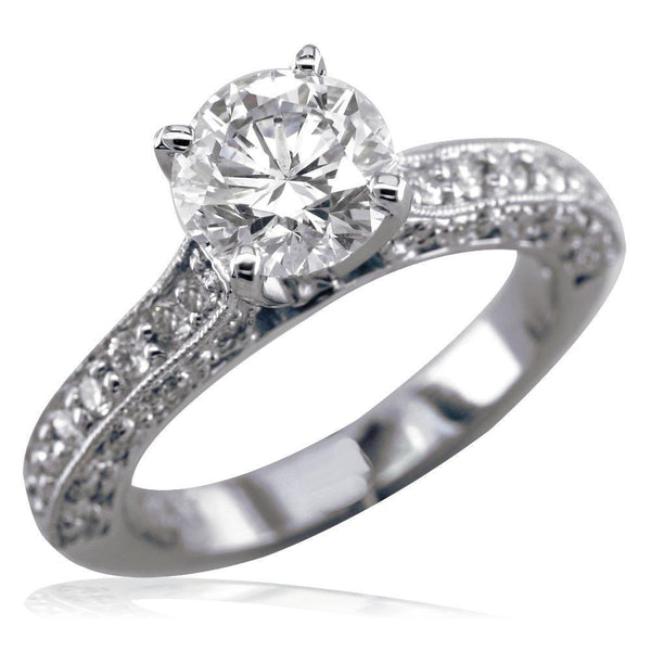 Diamond Engagement Ring Setting, 0.36CT Sides in 14k White Gold