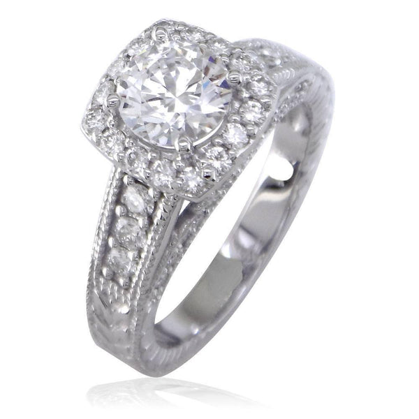 Vintage Style Diamond Halo Engagement Ring Setting, 0.85CT Sides in 14k White Gold