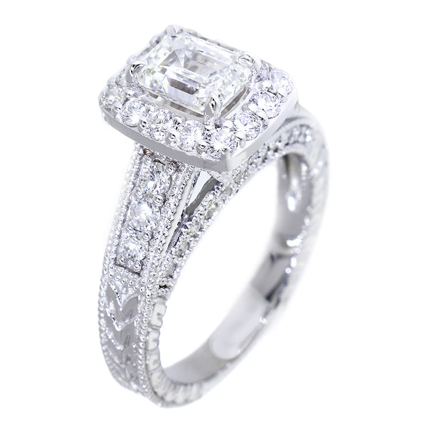 Emerald Cut Diamond Halo Engagement Ring Setting, 1.22CT Sides in 14k White Gold