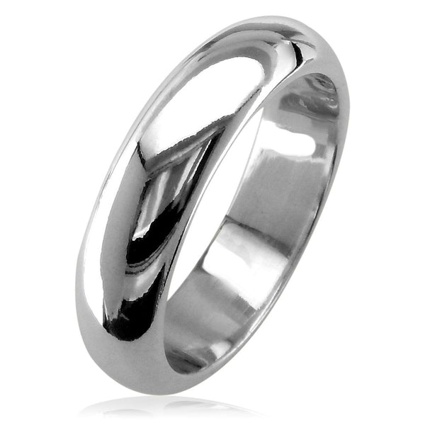 Mens Classic Plain Domed Wedding Band, 5mm Wide in 14K White Gold