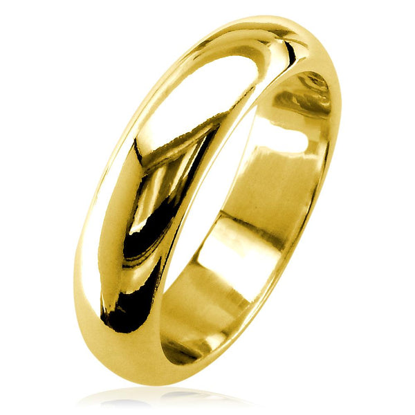 Mens Classic Plain Domed Wedding Band, 5mm Wide in 18K Yellow Gold