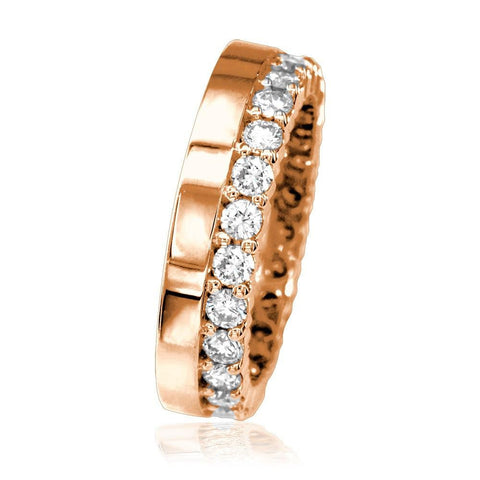 Diamond Eternity Band and Plain Band Ring,1.25CT in 14K Pink, Rose Gold