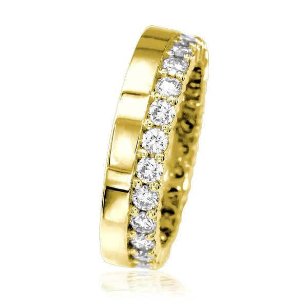 Diamond Eternity Band and Plain Band Ring,1.25CT in 18K Yellow Gold