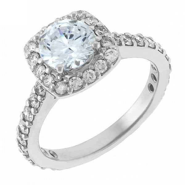 Cushion Halo Round Diamond Engagement Ring Setting in 14K White Gold, 1.00CT Sides