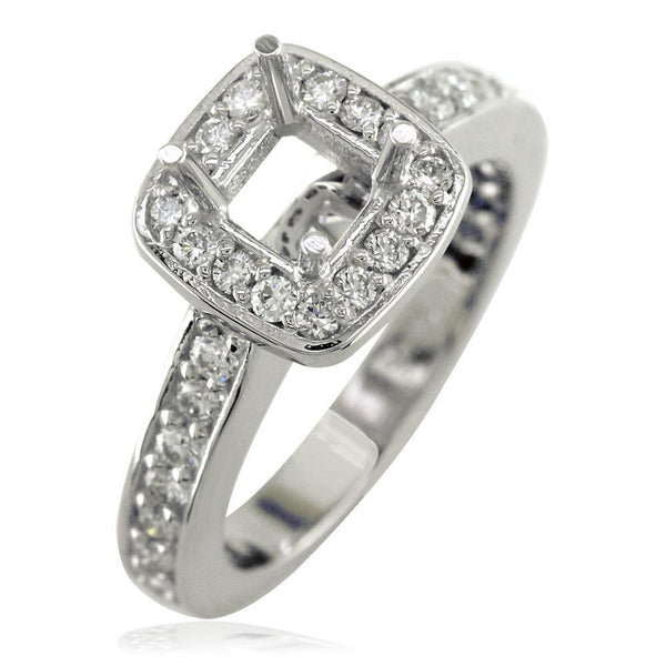 Cushion Halo Princess Cut Diamond Engagement Ring Setting In 14k White Gold 0 64ct Sides