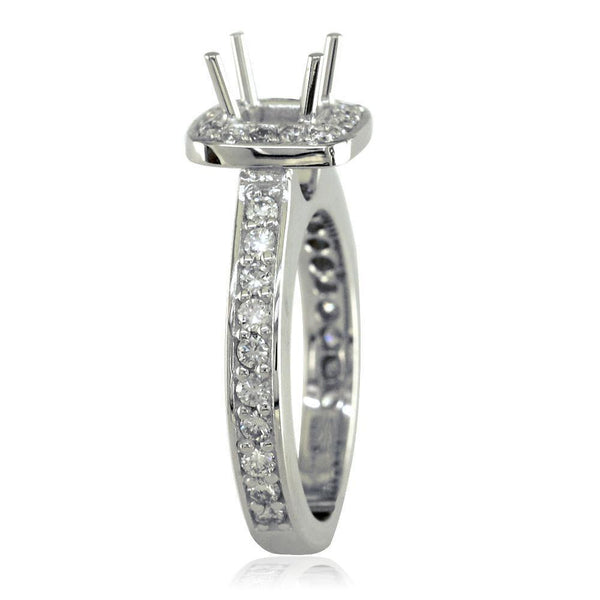 Cushion Halo Princess Cut Diamond Engagement Ring Setting In 18k White Gold 0 64ct Sides