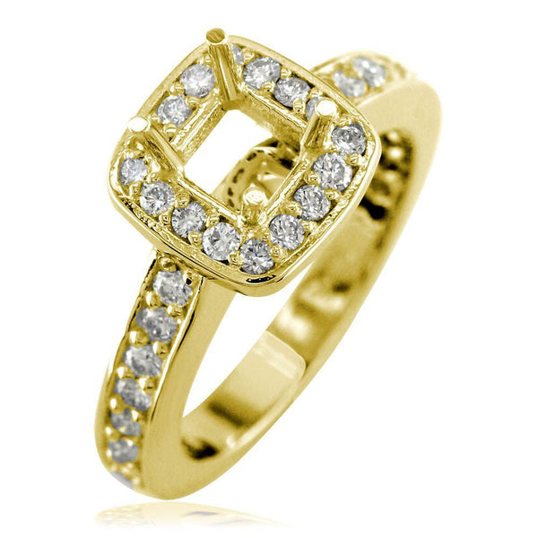 Cushion Halo Princess Cut Diamond Engagement Ring Setting in 18K Yellow Gold, 0.64CT Sides