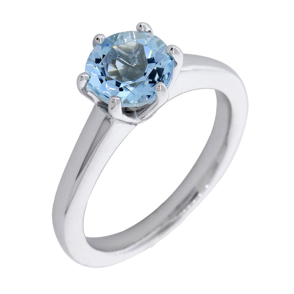 Round Aquamarine Ring, 6 Prong Setting, 1.27CT in 14K White Gold