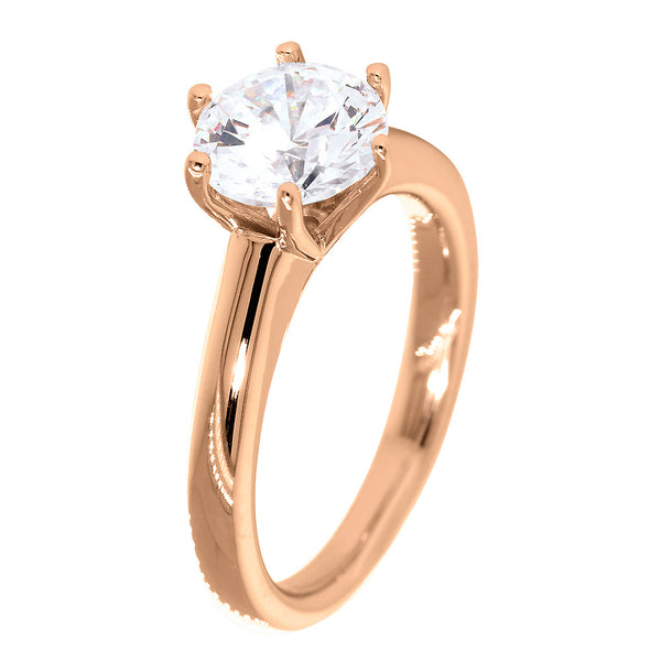 Solitaire Engagement Ring, 6 Prong Crown Setting in 18K Pink, Rose Gold
