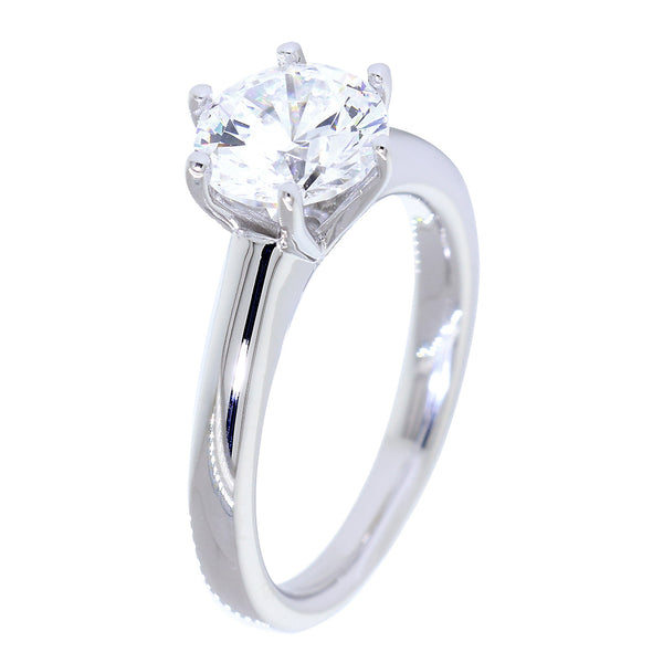 Solitaire Engagement Ring, 6 Prong Crown Setting in 18K White Gold