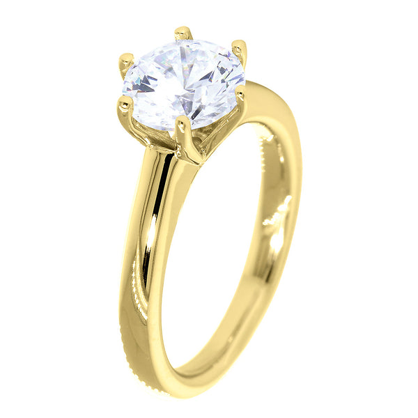 Solitaire Engagement Ring, 6 Prong Crown Setting in 14K Yellow Gold