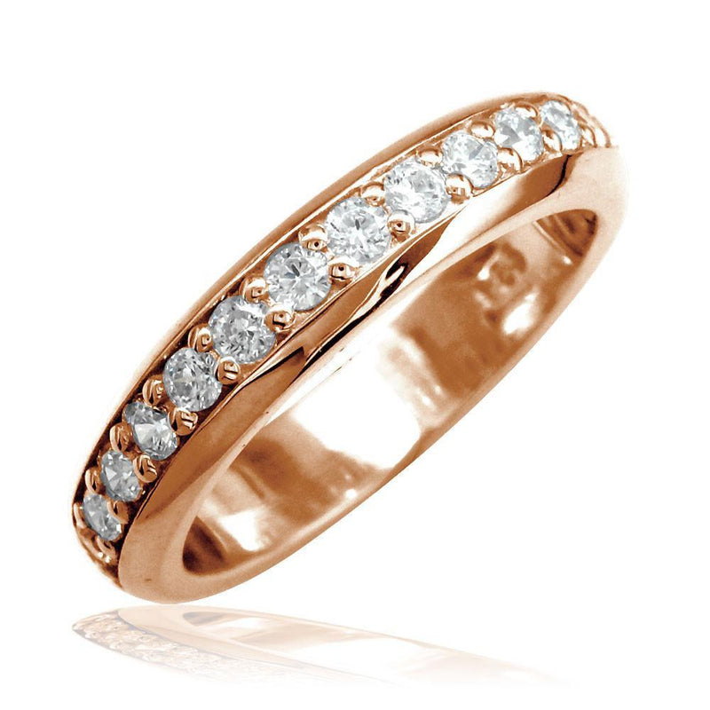 Domed Wedding Band Set with Diamonds Halfway, 0.50CT in 14k Pink Gold