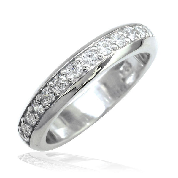 Domed Wedding Band Set with Cubic Zirconias Halfway in Sterling Silver