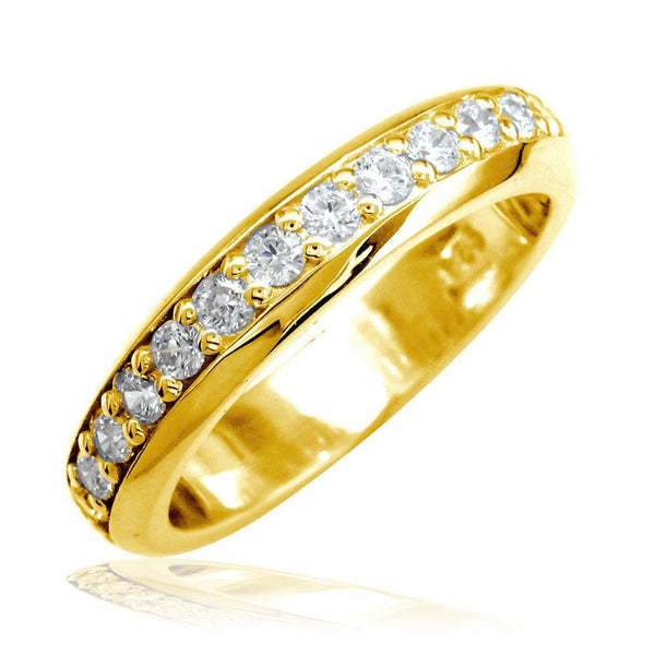 Domed Wedding Band Set with Diamonds Halfway, 0.50CT in 14k Yellow Gold