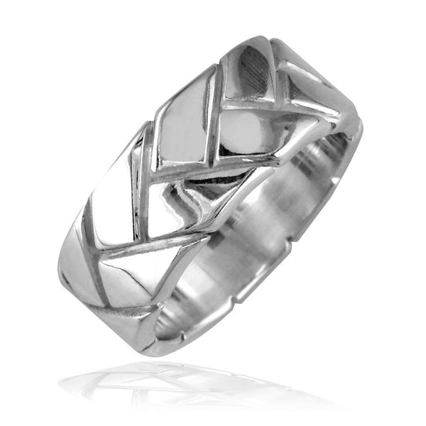 Mens Woven Wedding Band, 9mm in Sterling Silver