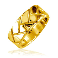 Mens Woven Wedding Band, 9mm in 14k Yellow Gold