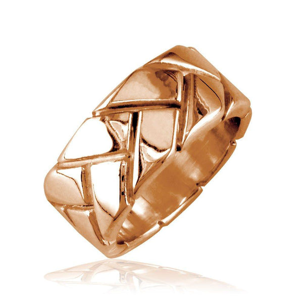 Ladies Woven Wedding Band, 9mm in 14k Pink Gold