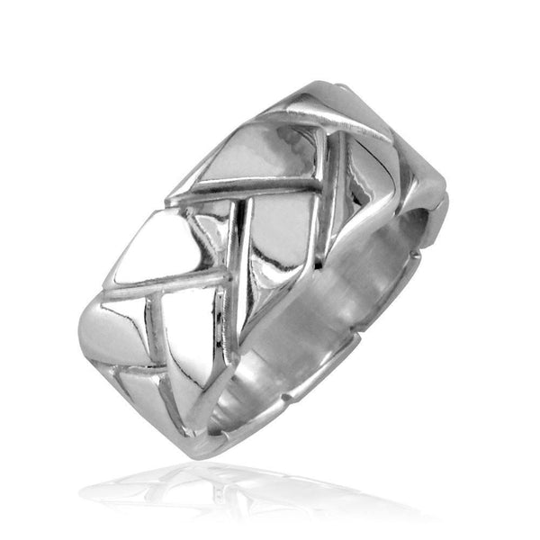 Ladies Woven Wedding Band, 9mm in Sterling Silver