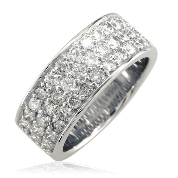 3 Row Halfway Diamond Band in 14K White Gold, 1.90CT