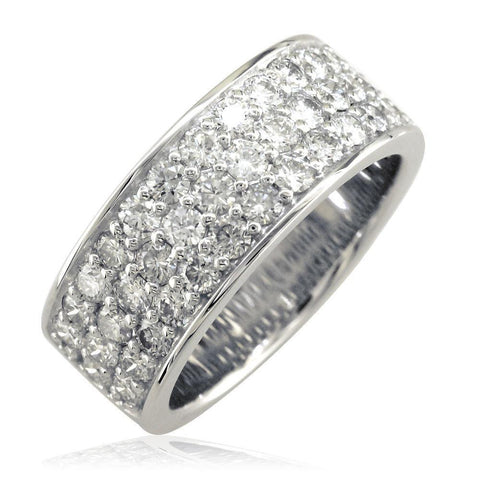 3 Row Halfway Diamond Band in 18K White Gold, 1.90CT