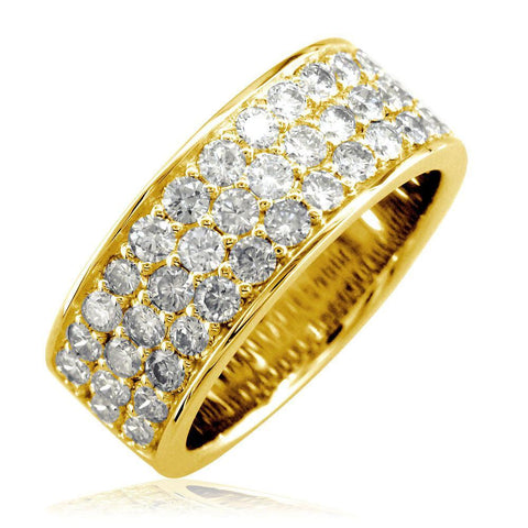 3 Row Halfway Diamond Band in 14K Yellow Gold, 1.90CT
