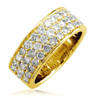 3 Row Halfway Diamond Band in 18K Yellow Gold, 1.90CT