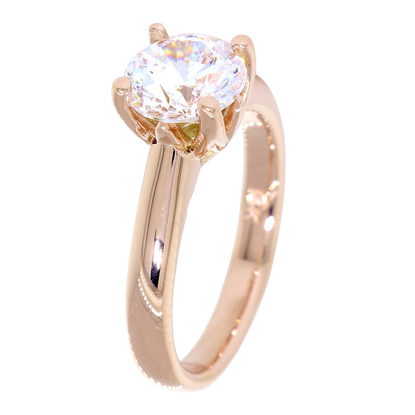 Solitaire Engagement Ring, Crown Setting in 18K Pink, Rose Gold
