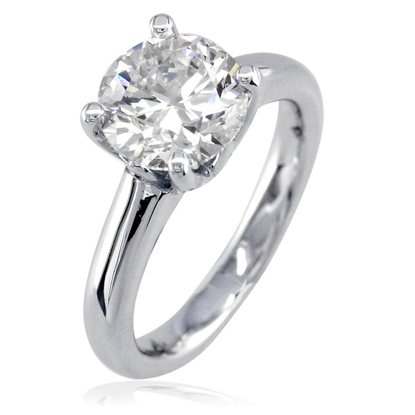 Solitaire Engagement Ring, Crown Setting in 18K White Gold
