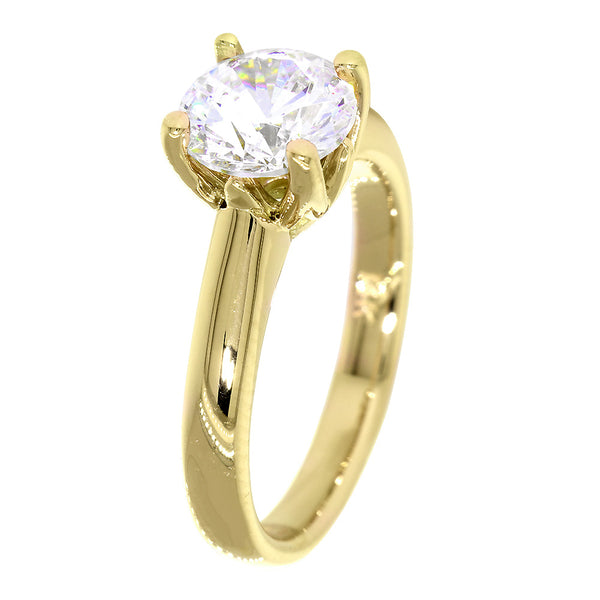 Solitaire Engagement Ring, Crown Setting in 18K Yellow Gold