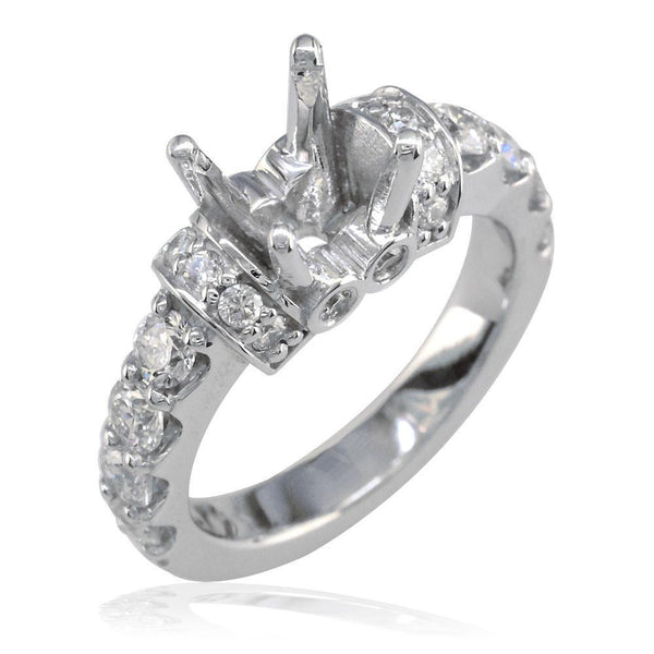 Round Diamond Engagement Ring Setting, 1.00CT Sides in 14K White Gold