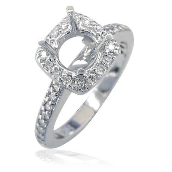 Cushion Halo Round Diamond Engagement Ring Setting in 18K White Gold, 0.40CT Sides